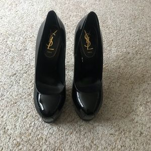Black Tribute YSL Tribtoo Patent Leather Platfoms